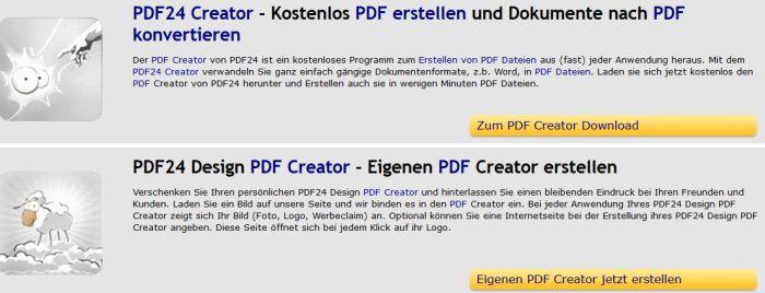 Kostenloser PDF Drucker: PDF24