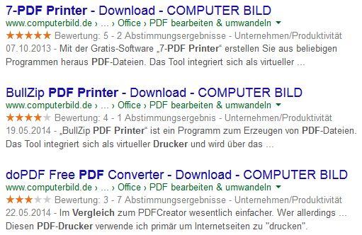 Google Ergebnis für beste PDF Drucker