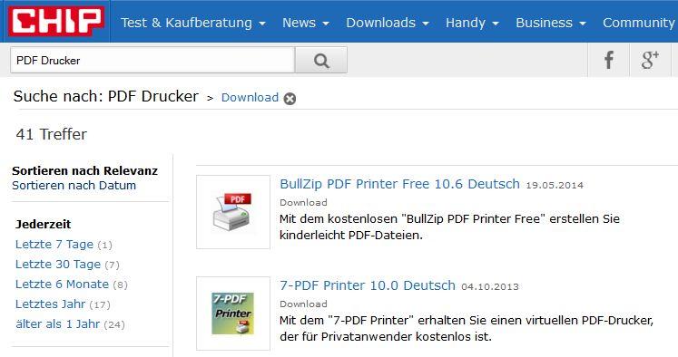 PDF Drucker bei Chip im Vergleich
