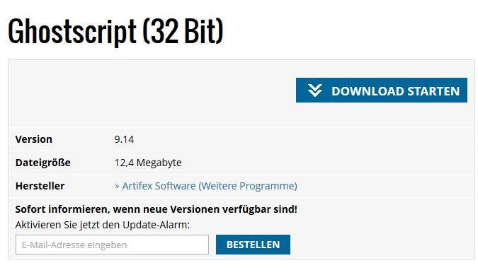 Zusatzsoftware Ghostscript installieren
