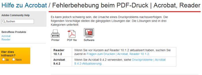 Fehlerbehebung bei Acrobat PDF Drucker