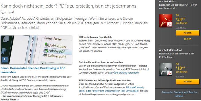 Adobe Programm für PDF Drucker