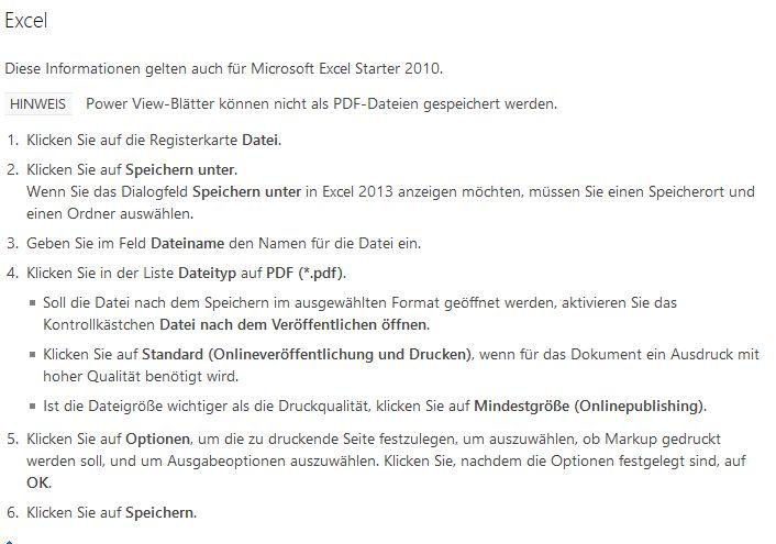 Anleitung zum PDF erstellen in Excel