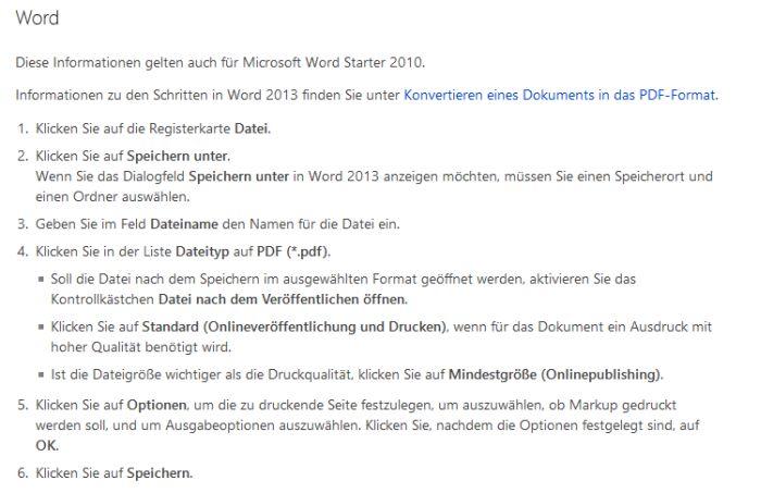 Anleitung zum PDF erstellen in Word
